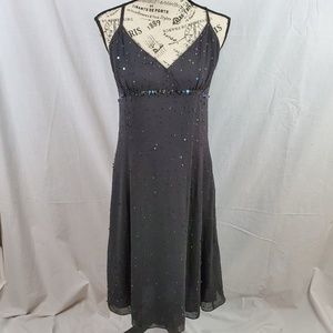 Calvin Klein Silk Sequin Empire Dress Black 12
